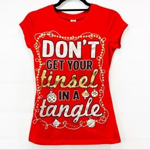 Christmas Festive Holiday Graphic Sparkly Tee | M